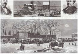 Gravure Ancienne  1876  La Catastrophe   Puits Jabin 4  Houillère De Saint-Étienne Charbon Mine Mineur - Old Paper