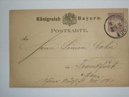 GERMANY BAYERN 1880`S POSTCARD NURNBERG TO FRANKFURT - Beieren