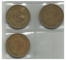 HONG KONG - 3 Coins 10 Cents - 1956, 1968, 1965 - Used - Hong Kong