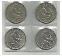GERMANY - 4 Coins 50 Pf - 1969 F, 1969 J, 1972 G, 1982  F - Used - [ 6] 1949-1990 : GDR - German Dem. Rep.