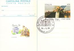Cartolina Postale Non Viaggiata (Italia) FRANCESCO VIGO 1986, Annullo Fdc Reggio C. - 6. 1946-.. Repubblica