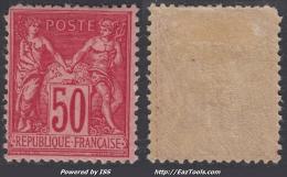 50c Sage Rose Foncé Neuf *  (Y&T N° 98, Cote  275€€) - 1876-1898 Sage (Type II)