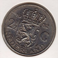 @Y@  Nederland  2 1/2 Gulden  / Rijksdaalder   1962  AUNC  Ag    (2673A) - [ 3] 1815-… : Kingdom Of The Netherlands