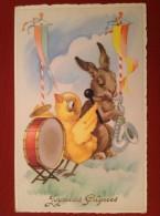 Musique Poussin à La Grosse Caisse Et Lapin Au Saxophone - Pasqua