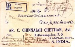 Malaya Registered Cover Booked From Malacca To Kothamangalam, India Via Dhanushkod With Postal Marking - Maleisië (1964-...)