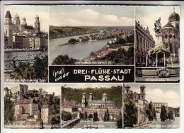 ALLEMAGNE : PASSAU Drei Flüss Stadt ( Multivues )  CPSM Dentelée Colorisée  GF - - Passau