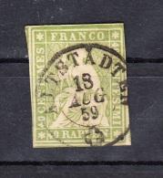Schweiz 40 Rappen Sitzende Helvetia 1855  - Klar, Zentrisch 2 Kreis Altstädten - Used Stamps