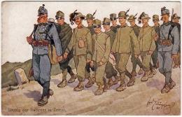 MILITÄR - MILITARI - EINZUG DER ITALIENER IN TRIENT - Schònpflug - Vedi Retro - Formato Piccolo - Guerre 1914-18