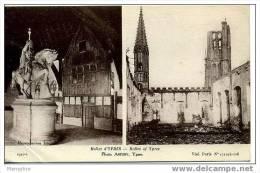 Ypres  Halles D'Ypres  Avant Et Après Le Bombardement  Adressée, Non Timbrée 1916 - Ieper