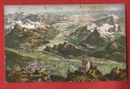 CDS2-27  Panorama BAd Ragaz, Rheintal-Bodensee Wartenstein, Fläsch Gonzen.  Gelaufen In 1910 - SG St. Gall