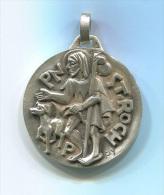 """Beau Médaillon Pendentif Médaille Religieuse """"Saint Roch"""" Signée PY Et Poinçonnée - Bronze Argenté - Religious Medal - Religión & Esoterismo"""