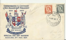 NEW ZEALAND 1954 - FDC 100 YEARS OF N.ZEALAND FIRST PARLIAMENT W 2 STS OF 1/2-1 D  (QUEEN ELIZABETH II) POSTM AUCKLAND M - FDC