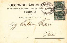 Secondo Ascoli & C. Deposito Carboni Fuori Porta Reno. Ferrara Per Orte. 1912. Testatina Pubblicitaria - Shopkeepers
