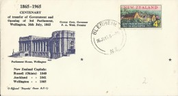 NEW ZEALAND 1965 - FDC 100 YEARS OF GOVERNMENT IN WELLINGTON - OPENING OF 3RD PARLIAMENT 1965 W 1 ST OF 4 D POSTM BLENHE - FDC