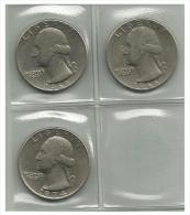 UNITED STATES - 3 Coins 1/4 Dollar - 1965, 1966, 1974 - Used - Émissions Fédérales