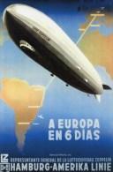 Graf Zeppelin Travel Poster Postcard Airship Hamburg Germany South America Line - 18700 - Montgolfières