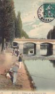 23135 MELUN - Les Pecheurs Sur Les Bords De La Seine -LL 19 -colorisee Peche Ligne Pont - Melun