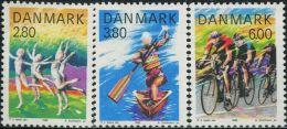 NE4013 Denmark 1985 Sports Gymnastics Rowing Bike 3v MNH - Unused Stamps