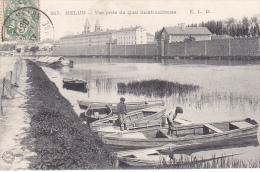 23140 MELUN -Vue Prise Du Quai Saint-Ambroise -817 ELD -barque Enfant Pecheur