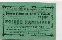 LYON CARTE D INVITATION POUR LA FEDERATION NATIONALE DES MOYENS DE TRANSPORTS DE LYON A UNE SOIREE FAMILIALE - Programmes