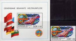 Raumfahrt INTERKOSMOS 1980 DDR 2502+Block 58 ** 4€ SOJUS 31 Jähn 1.Deutscher Im All Bloque Hoja Bloc Space Sheet Germany - Airplanes
