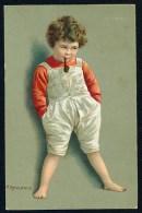 Kaulbach, H. - Boy, Pipe ------- Postcard Traveled - Kaulbach, Hermann