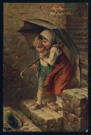 Kaulbach, H. - Vom Regen In Die Traufe  ------- Postcard,traveled - Kaulbach, Hermann