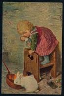 Kaulbach, H. - Poltroons - Girl, Rabbit  ------- Postcard Traveled - Kaulbach, Hermann