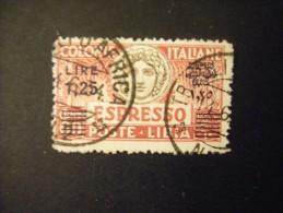 LIBIA - 1927/33 ESPRESSO Dent 11,  Sass. N. 12, 1,25 Su 60, Usato, Al Prezzo Più Basso Del Web - Libia