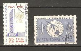 ROMANIA - 1965 UN Anniversary Set CTO   SG 3243-4  Sc 1717-8 - 1948-.... Republics