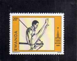 REPUBLIQUE RWANDAISE RWANDA 1980 OLYMPIC GAMES MOSCOW '80 GYMNAST GIOCHI OLIMPICI MOSCA GINNASTA MNH - Rwanda