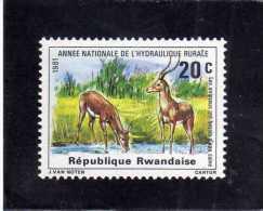 REPUBLIQUE RWANDAISE RWANDA 1981 NATIONAL RURAL WATER SUPPLY YEAR Deer Drinking FAUNA NATURE ANIMALS MNH - Rwanda
