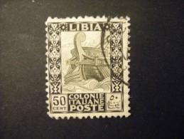 LIBIA - 1926/30, PITTORICA Dent. 11,  Sass. N. 64, Cent. 50 Nero E Oliva, Usato Garantito - Libya