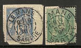 LE MANS Sarthe 2 TYPES Sur 2 SAGE. L3 - Marcophilie (Timbres Détachés)