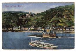 Caub Mit Der Pfalz - 1923 - Colorisée - Cachet Comité Directeur Des Forêts - Papier Collé Au Dos - Kaub - Mauvais état - Kastellaun