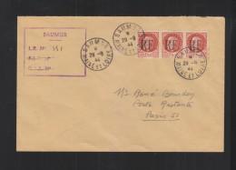 Lettre RF Surcharge 1944 Saumur - Liberation
