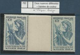 "Variétés YT 762 "" Conférence "" 1946  Voir Détail - Variedades: 1945-49 Nuevos"
