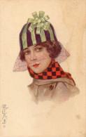 Illustrée Signée E. COLOMBO : Femme à La Voilette - Colombo, E.