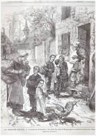Gravure Ancienne 1876 La Sainte Semaine  COUTUMES   DE LA TOURAINE   LA QUETE DES OEUFS  DE PAQUES - Vieux Papiers