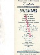 24 - MONTIGNAC - BEAU MENU FELIBREJADO DE MOUTIGNAC- TAULADO -18 JUILLET 1954- PELISSON TRAITEUR A PAYZAC - Menus