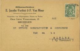 Mechelen :  E. Jacobs ( Vergulden Van Wijzerplaten , Hanen , Bollen ---blikse   (  2 Scan )  (  Aan De Gemeente Tielen ) - Malines