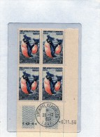Taaf TIMBRE NEUF BLOC DE 4 DU  6/11/1958 OBLITERATION EN MARGE  N°3 MANCHOTS CORFOU - Antarctic Wildlife