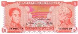 VENEZUELA   5  Bolivares  Daté Du 21-09-1989   Pick 70 A       ***** BILLET  NEUF ***** - Venezuela