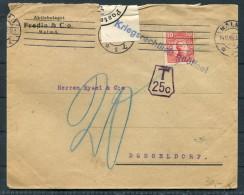 1915 Sweden Malmo Fredin & Co Censor Cover - Dusseldorf, Germany Kriegsrechtlich Taxe Postage Due Porto