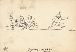Dessin Publicité Par FLORA Envoi Timbré Au Dos 1956 Allemand Casque à Pointe Atarax UCB - Posters