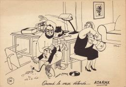 Dessin Publicité Par Jean Dratz Envoi Timbré Au Dos 1956 Docteur Fessée Atarax UCB - Posters