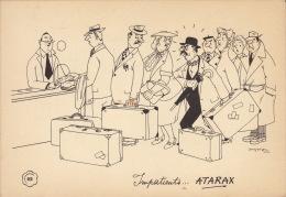 Dessin Publicité Par Jean Dratz Envoi Timbré Au Dos 1956 Atarax UCB - Posters