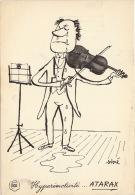 Dessin Publicité Par Sine Violon Envoi Timbré Au Dos 1957 Atarax UCB 20cm X 14cm - Posters