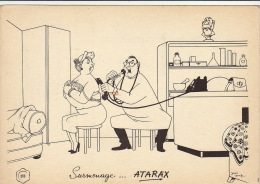 Dessin Publicité Par Jean Dratz Docteur Envoi Timbré Au Dos 1957 Atarax UCB 20cm X 14cm - Posters