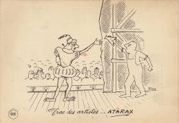 Dessin Publicité Par Mose Theatre Parlophone Envoi Timbré Au Dos 1957 Atarax UCB 20cm X 14cm - Affiches & Posters